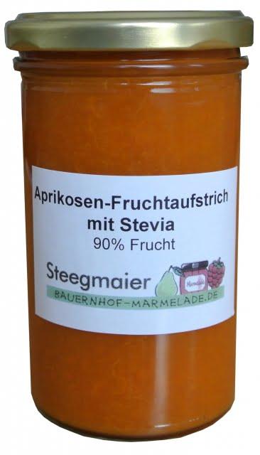 Aprikosen-Fruchtaufstrich mit Stevia, 90% Frucht